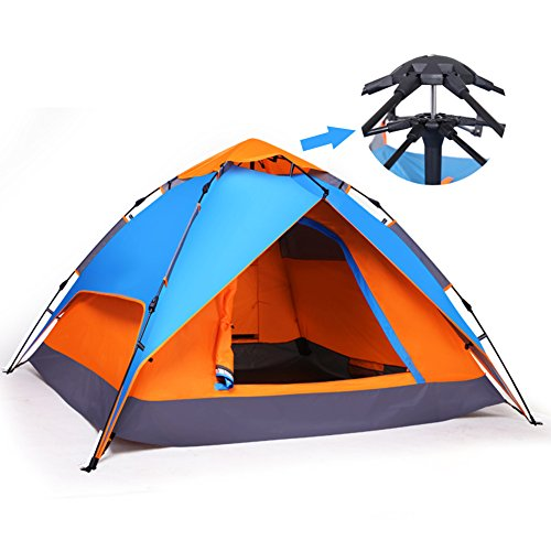 yodo Easy Up Instant Tent for Family Camping, Blue/Orange