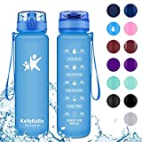KollyKolla Sports Water Bottle - 350ml BPA Free Leak Proof Tritan Plastic Eco-Friendly Drink Bottles with Filter & Time Marker, One Click Flip Lid, for Kids, School, Gym, Hiking, Travel, Matte Blue