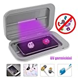 Moshbu UV Cell Phone Sterilizer, Smartphone Ultraviolet Sterilizer with Dual LED Sanitizer Cleaner Box for All Phones Salon Tools Tableware Makeup Brushes Toothbrush Watch Jewelry