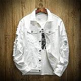 HUITAILANG Veste en Jean Hommes, Slim Fit Coton Déchiré Taille Plus Veste en Jean, Manteau De Mode, Blanc, 2X, Grand