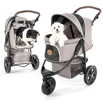 Hauck-TOGfit-Pet-Roadster-Luxury-Pet-Stroller-for-Puppy-Senior-Dog-or-Cat-Easy-Foldable-Three-Wheels-Travel-Pet-Jogger-max-Loading-70-lb-Mattress-Included-Gray