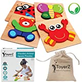 ToyerZ Wooden Jigsaw Puzzles for Toddlers, Educational Toy for 1 2 3 Years old Boys & Girls, 4 Animal Shapes Puzzles in a Gift Box. Colorful Montessori Learning Toy.