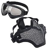LAOSGE Airsoft Mask,Mesh Half Face Full Black Set with UV 400 Anti Fog Goggles