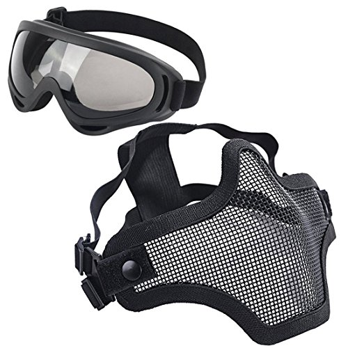 LAOSGE Airsoft Mask,Mesh Half Face Full Black Set with UV 400 Anti Fog Goggles