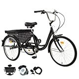 LYYNTTK Adult Tricycles Three Wheel Trike Bike Cruiser 7 Speed, Adult Trikes 24 inch Wheels Low Step-Through with Cargo Basket/Full Assembly Tool for Women, Men, Seniors (Black, 24 Inch)