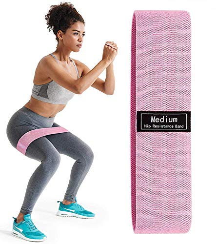 FirstFit Resistance Bands for Legs and Butt, Exercise Bands Set Hip Bands Wide Workout Bands Resistance Loop Bands Anti Slip Circle Fitness Band (Medium, 14.5 Inch) - Pink
