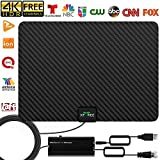 TV Antenna, 2020 New Indoor Amplified HD Digital TV Antenna 130 Miles Range with Amplifier Signal Booster 4K Free Local Channels Support All Television -16.5ft Coax Cable (Black)
