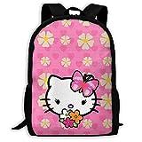 Mei-shop Mochila Informal con Estampado Floral de Hello-Kitty, Cremallera, Mochila Escolar, Mochila de Viaje, mochila-7L
