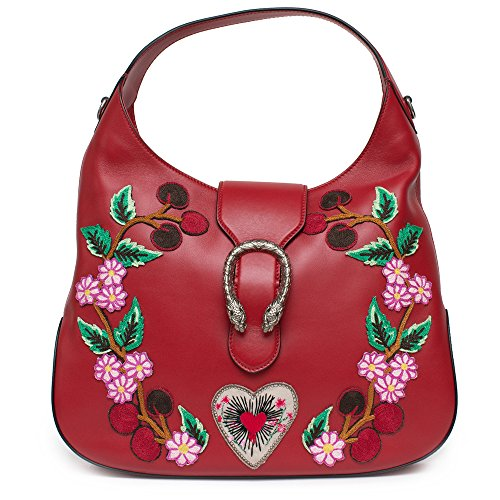 """515yMup150L Embroidered with floral and heart appliqués, Gucci's Dionysus bag will add a feminine edge to your everyday wardrobe. Rendered in red leather, this slouchy style is adorned with antiqued silver-toned hardware and a signature tiger head brooch. Hibiscus Red. Cherry Blossoms. Cherries. The Dionysus hobo is a new shape this season complete with the tiger head closure, a unique detail referencing the Greek god Dionysus, who in yah is said to have crossed the river Tigris on a tiger sent to him by Zeus. Made in smooth, soft leather w a natural shine and supple appearance e. Beige microfiber lining with a suede like finish. Hibiscus red leather w floral and heart appliqué. One interior zip and two smartphone pockets Top handle with 7"""" drop Blue and red Web detachable shoulder strap with 22"""" drop Tiger head closure Dionysus Medium size: 14""""W x 11""""H x 2""""D Microfiber lining with a suede-like finish"""