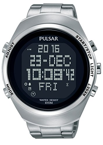 Pulsar Herren Digital Quarz Uhr mit Edelstahl Armband PQ2055X1