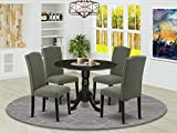 East West Furniture DLEN5-BLK-20 5Pc Round 42' Kitchen Table With Two 9-Inch Drop Leaves And Four Parson Chair With Black Leg And Linen Fabric Dark Gotham Grey, 5