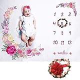 Ploufer Couverture mensuelle de bébé de couverture de photo d'étape de toile de fond de couverture molle de bébé emmaillotant pour la photographie