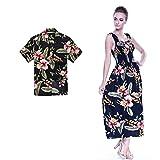 Couple Matching Hawaiian Luau Aloha Shirt Maxi Tank Dress in Black Rafelsia XL