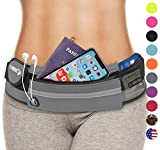 Running Gear Workout Bag: Waist Packs Best Comfortable Running Belts That Fit ALL Phones (Gray) Gym Accessories Fanny Packs Exercise Workout Pack Running Pouch for Women and Men Fanny Pack