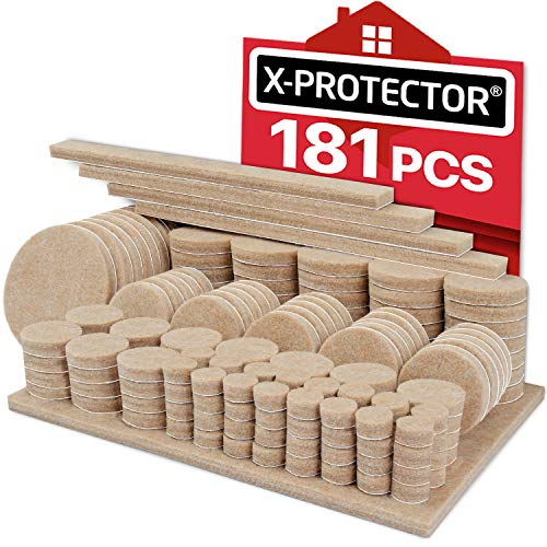 Felt Furniture Pads X-PROTECTOR 181 Pack - Premium Felt Pads Floor Protectors Furniture Feet  Best Wood Floor Protectors - Protect Your Hardwood & Laminate Flooring with 100% Satisfaction!