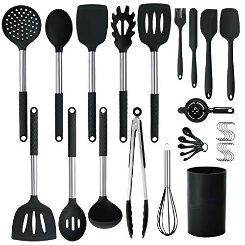 Silicone Cooking Utensils Set, 31pcs Kitchen Utensils Set, Heat Resistant Non-stick Silicone Kitchen Cookware with...