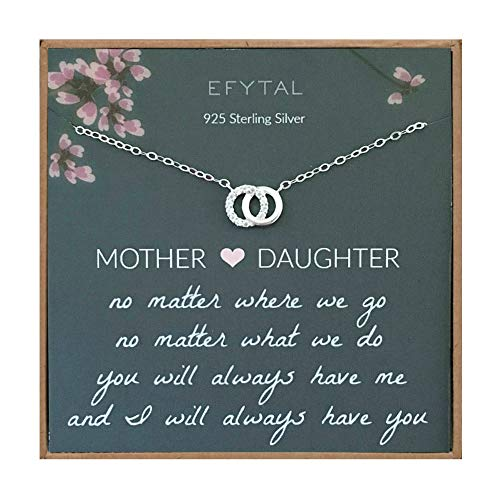EFYTAL Mom Gifts, 925 Sterling Silver Small CZ Interlocking...