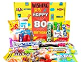 Woodstock Candy 80th Birthday Gifts for Women & Men - Classic 1940 Candy Pack for 80 Years Old Man & Woman - Assorted Retro Candy Basket Box - Unique Presents for Mom, Dad, Grandpa & Grandma