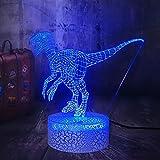 Luz de noche LED Lámpara de mesa de dinosaurio 3D Base agrietada de acrílico Regalo de luz decorativa multicolor