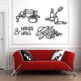 Pegatinas de pared de vinilo para uñas, manicura, pedicura, uñas de spa, citas positivas, decoración de adsorción de ventana y aula