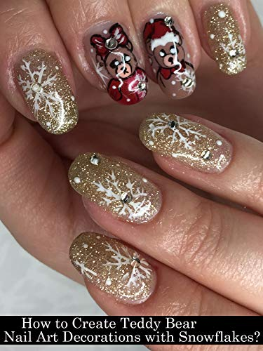 How to Create Teddy Bear Nail Art Decorations with Snowflakes?