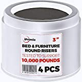 iPrimio Bed and Furniture Risers  4 Pack Round Elevator up to 3' and Lifts up to 10,000 LBs - Protect Floors and Surfaces  Durable ABS Plastic and Anti Slip Foam Grip - White