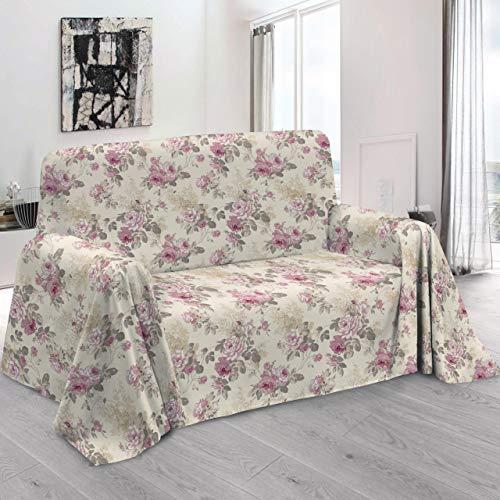 HomeLife - Telo Arredo Copridivano con Elegante Motivo Floreale a Rose, qualit Made in Italy...
