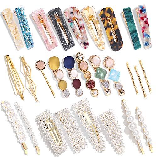 28 PCS Hingwah Pearls and Acrylic Resin Hair...