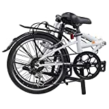 "Dahon Dream D6 Folding Bike,20"" Steel Frame 6-Speed Shimano Gears Foldable Bicycle for Adults, White"