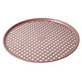 """Cook with Color Bakeware Non Stick Pizza Pan, Speckled 14"""" Pizza Cooking Tray, Pizza Heating Pan, Crisper (Rose Gold)"""