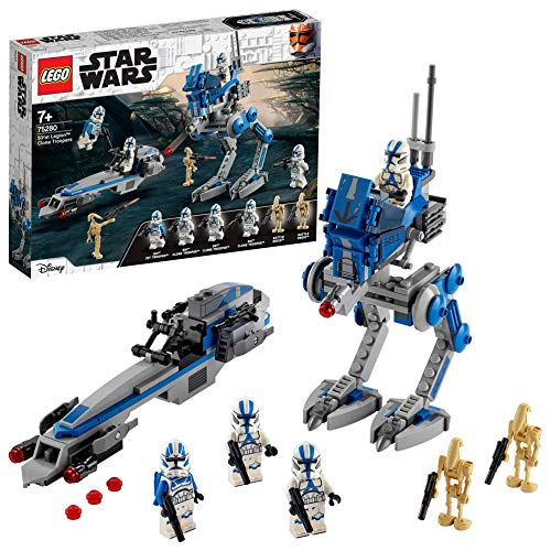 LEGO Star Wars TM Soldados Clon de la Legión 501 Set con Droides de Batalla y AT-RT Walker, Multicolor (75280)
