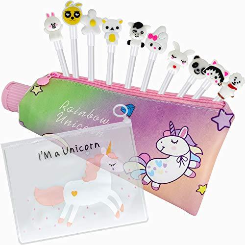 10pcs Cancelleria per Unicorno,Penne per Unicorno Ragazze Regalo di Compleanno per Bambine, Astuccio per Matita Unicorno,Regalo Bambina 3 4 5 6 7 8 9 10 Anni,per Un Ottimo Regalo x una Bambina