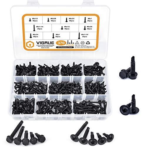 410 Stainless Steel #8 Self Drilling TEK Screw Assortment Kit, Hex Washer Head & Modified Truss Head, VIGRUE 370PCS Self Tapping Sheet Metal Screws, Length 1/2' to 1-1/4', Black Oxide