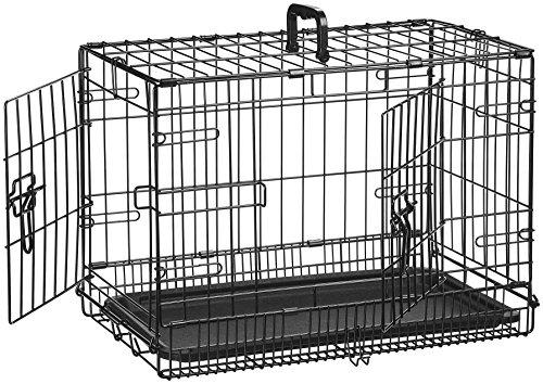 AmazonBasics Cage pliante en métal avec 2 portes pour chien - 56 cm