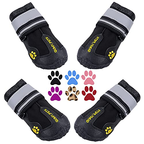 QUMY Dog Boots Waterproof Shoes for Large Dogs...