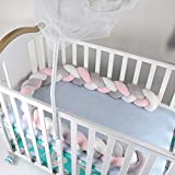 Luchild Baby Braided Crib Bumper Soft Snake Pillow Protective & Decorative Long Baby Nursery Bedding Cushion Knot Plush Pillow for Toddler Newborn-Gray+White+Pink