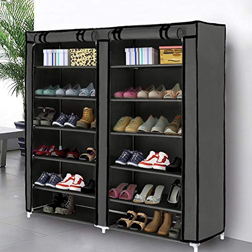 Blissun Shoe Rack Shoe Storage Organizer Cabinet Tower with Non-Woven Fabric Cover (Grey)