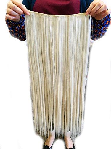 Magik 3/4 Voller Kopf-Haar-Verlängerungen Klipp gerade lockig m / 5 Clips, Lang (Beige-Gerade)