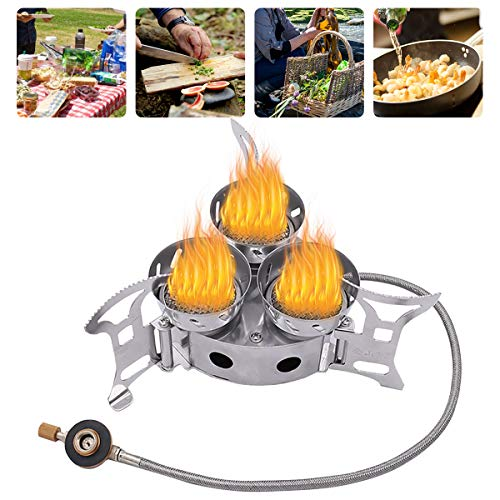 Qdreclod Camping Stove, 11000W Three-core Windproof Camping Gas Stove Mini Portable Stove with 3 Foldable Non-Slip Support Stand, Outdoor BackpackingCamp Stove Burner, Heavy Duty Support Up to 66 lb