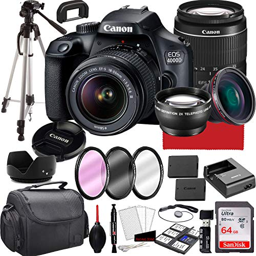 Canon EOS 4000D DSLR Camera with 18-55mm f/3.5-5.6 Zoom Lens,...