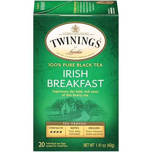 Twinings of London Irish Breakfast Black Tea Bags, 20 Count (Pack of 6)