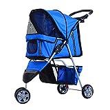 PawHut Passeggino per Cani Pieghevole Carrello per Animali Domestici Carrello Carrozzina Blu 75 x 45 x 97cm
