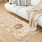 Seavish Tufted Cotton Area Rug,2X 4.4 Beige Geometric Hand Woven Fringe Throw Rugs Shag Accent Fringe Tassel Rug for Living Room Bedroom Bathroom Kitchen Laundry Dorm