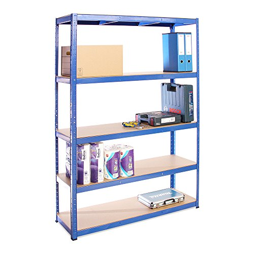 Scaffale per Garage Scaffalatura 180cm x 120cm x 40cm Blu 5 Ripiani (175Kg a ripiano) Capacit...