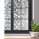 rabbitgoo Privacy Window Film, 3D Decorative Window Cling, Static Cling Glass Film, Removable Winodw Tint Film, Door Window Covering, UV Blocking Glue Free Non Adhesive, Mosaic Pattern, 23.6' x 78.7'