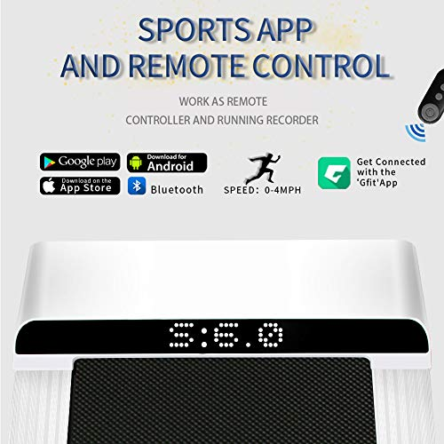 UMAY Portable Treadmill with Foldable Wheels, Under Desk Walking Pad Flat Slim Treadmill, Sports App, Installation-Free, Remote Control, Jogging Running Machine for Home/Office, White 2
