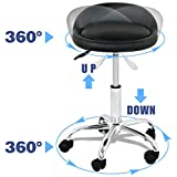 Nova Microdermabrasion Adjustable Hydraulic Rolling Swivel Salon Stool Chair Tattoo Massage Facial Spa Stool Chair with Back Rest (PU Leather Cushion) (1pcs)