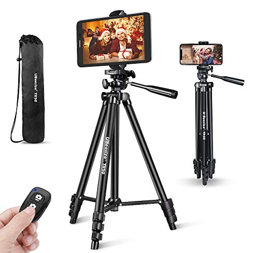 Phone Tripod, UBeesize 50 Extendable Lightweight Aluminum Tripod Stand with Universal Cell Phone/Tablet Holder, Remote Shutter, Compatible with Smartphone & Tablet & Camera.