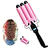 3 Barrel Curling Iron with LCD Temperature Display - 1 Inch Ceramic Tourmaline Triple Barrels, Ceramic Hair Crimper Hair Waver Hair Curlers Hair Curling Wand for Deep Waves Suit for All Style