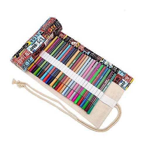 Colorato Sacchetto della matita, 72 fori, Borsa per penne, Astuccio, Roll Up Pencil Pouch, Forniture per artisti, Borsa per matite colorate per dipingere, scrivere, disegnare, colorare, diseg